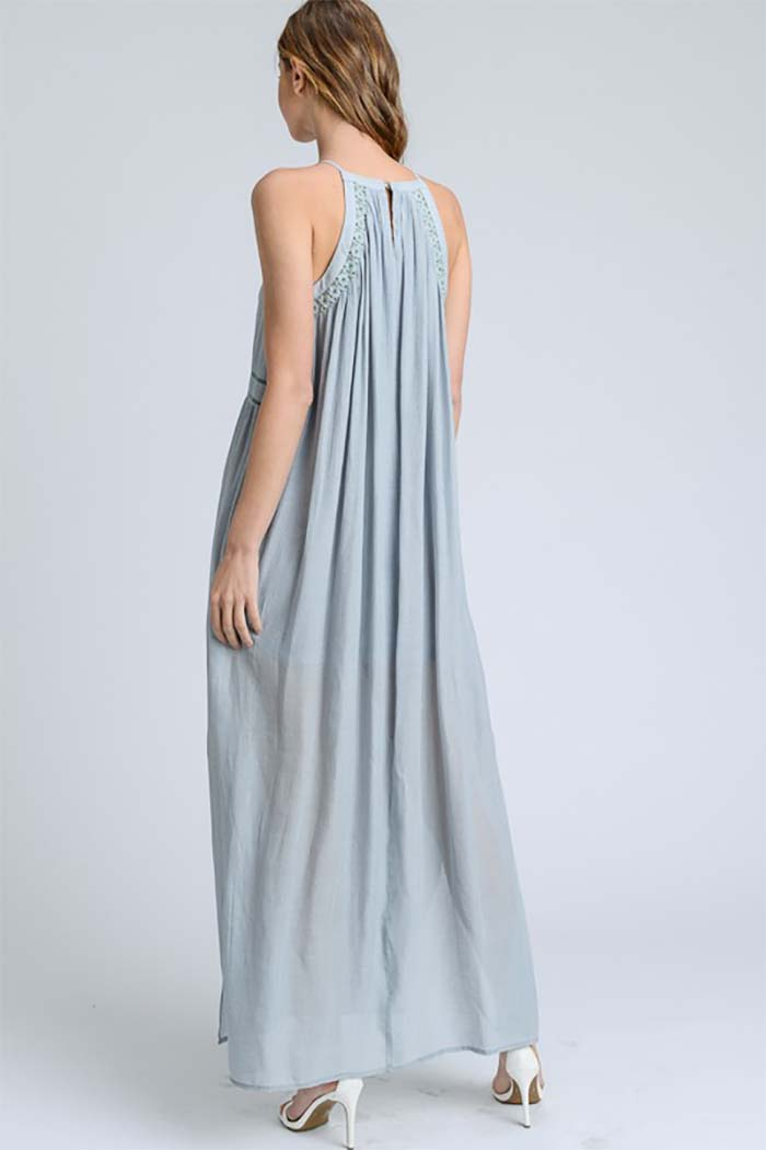 Harlie High Neck Maxi Dress : Dusty Blue