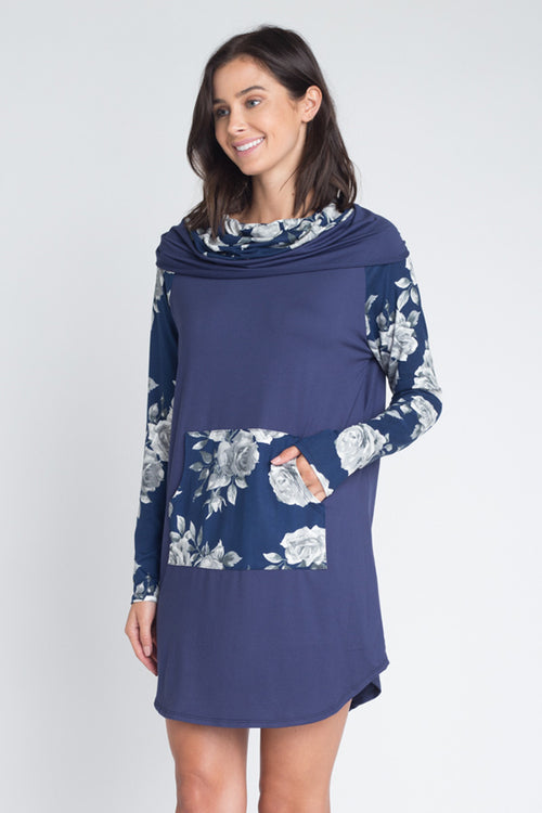 Amanda Floral Cowl Neck Dress : Navy