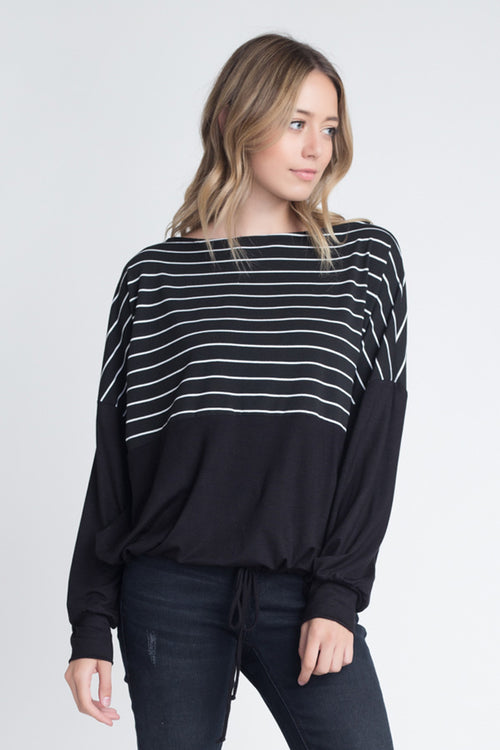 Stella Stripe Print Loose Top : Black/White