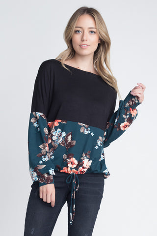 Lauren Cold Shoulder Cutout Sweater Top : Navy