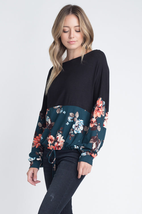 Ellie Puff Sleeve Floral Top : Teal