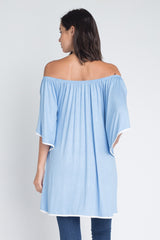 Taylor Off The Shoulder Top : Light Blue