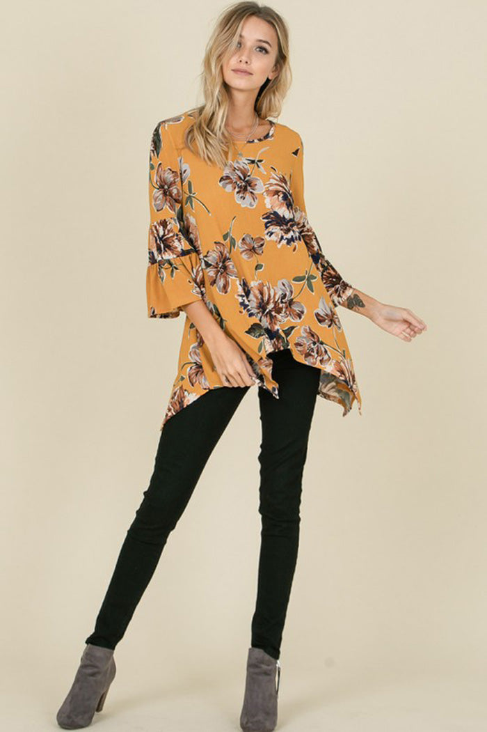 Emily Hacci Bell Sleeves Floral Top : Mustard