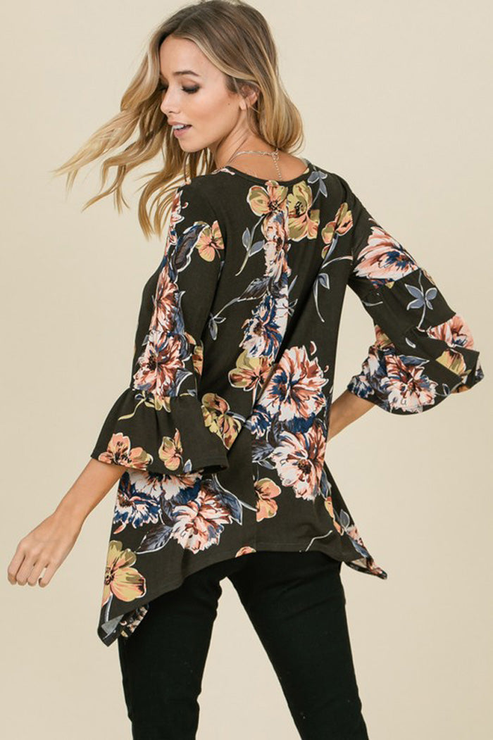 Emily Hacci Bell Sleeves Floral Top : Olive