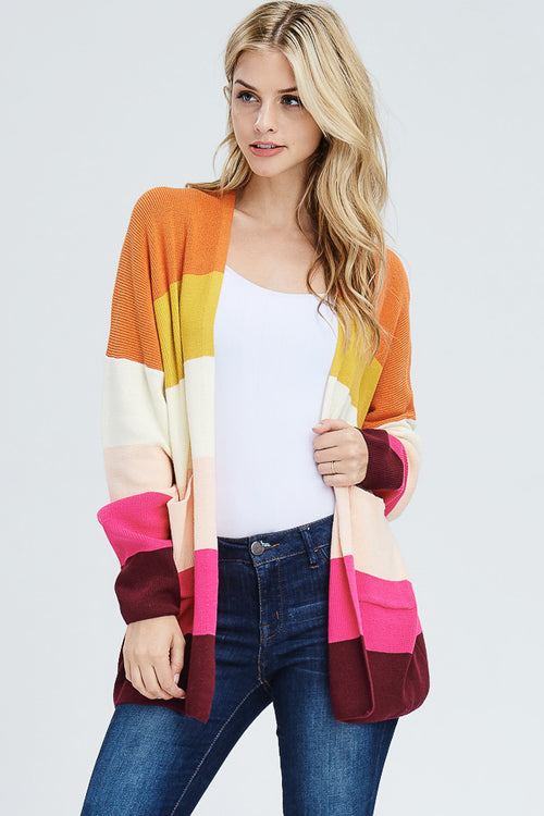 Esme Ribbed Stripe Cardigan : Multi