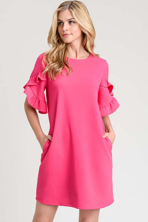 Lucy Solid Ruffle Tulip Dress : Fuschia