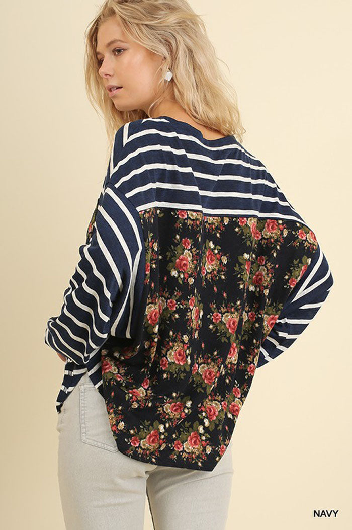 Madison Floral Back Top : Navy