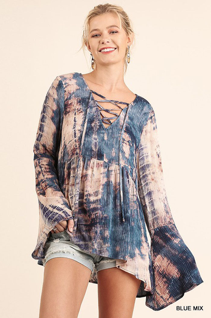 Tie Dye Lace Up Shirt