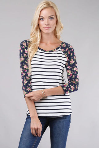 Angie Floral Print Top : Black