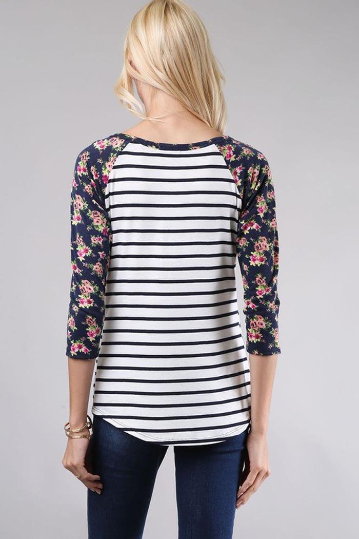 3/4 Sleeve Raglan Top