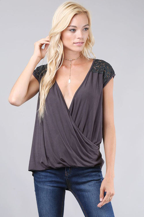Draped Solid Open Back Top