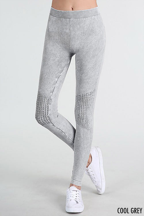 Vintage Knee Long Leggings : Ice blue