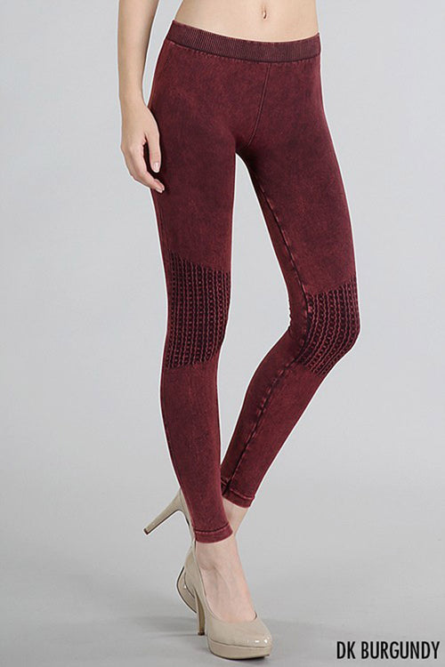 Vintage Knee Long Leggings : Dark burgundy