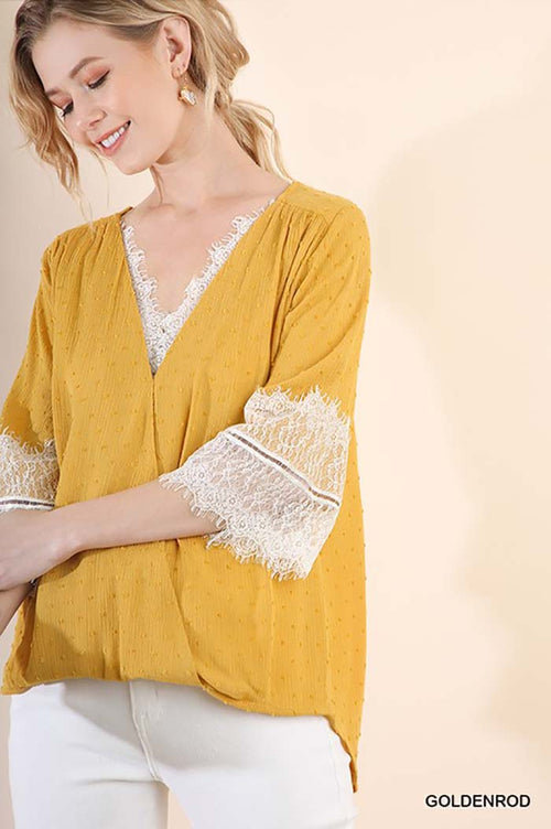 Priscilla Embroidered Surplice Top : Goldnrod