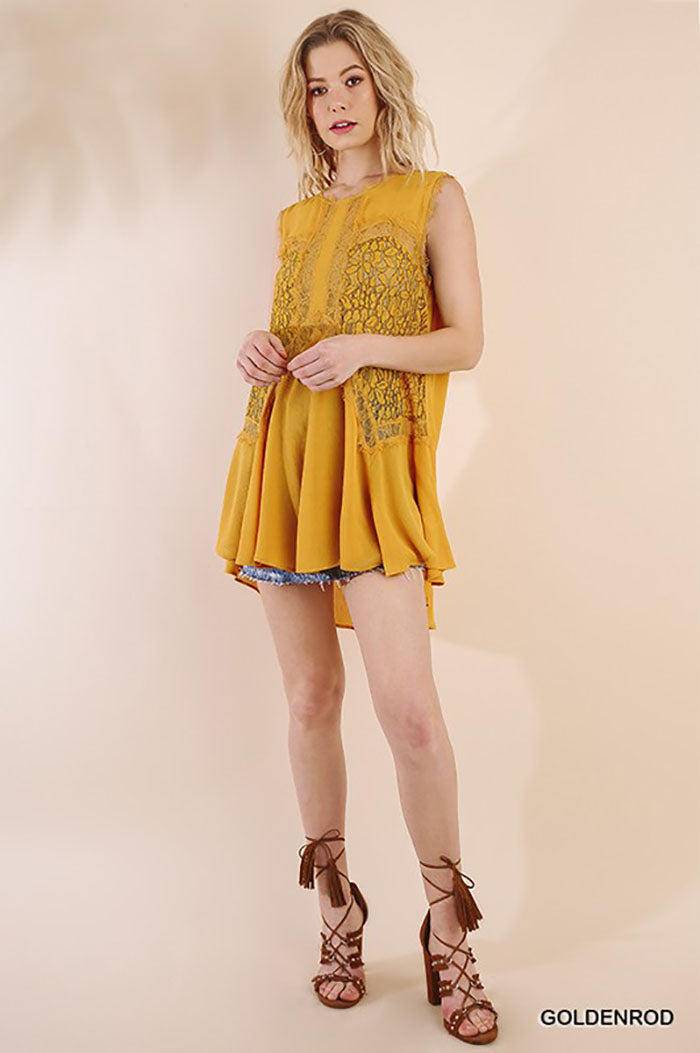 Eliza Sleeveless Lace Tunic Top : Goldenrod