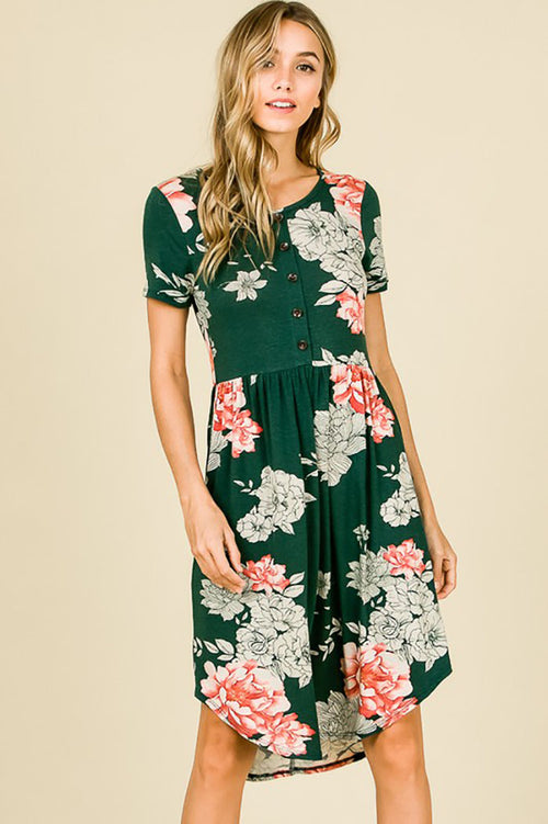 Luella Floral Midi Dress : Green