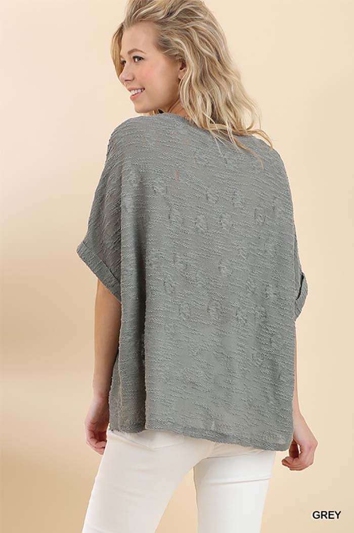 Brenna Dolman Slub Knit Top : Grey