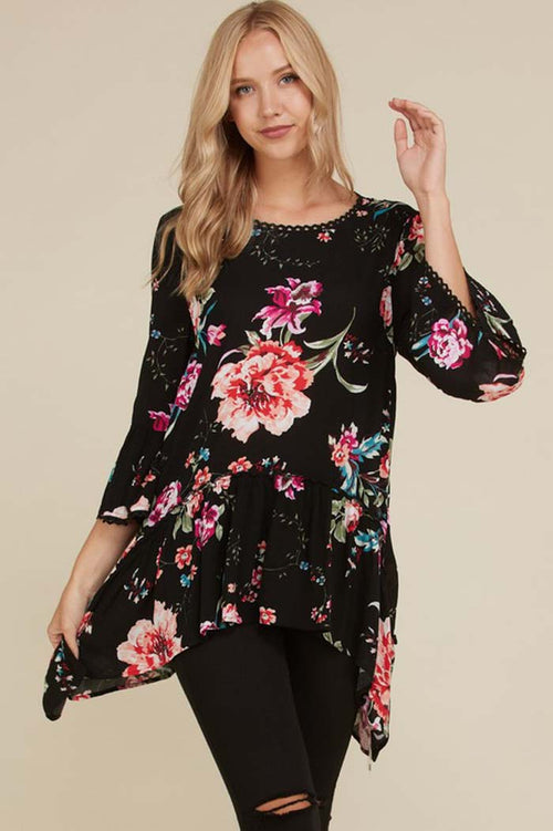 Abigail Floral Tunic Top : Black