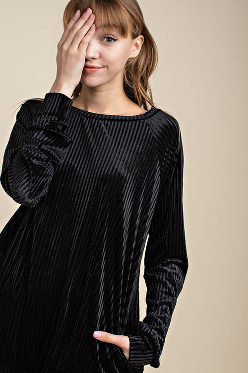 Addison Velvet Rib Pocket Sweatshirt Top : Black