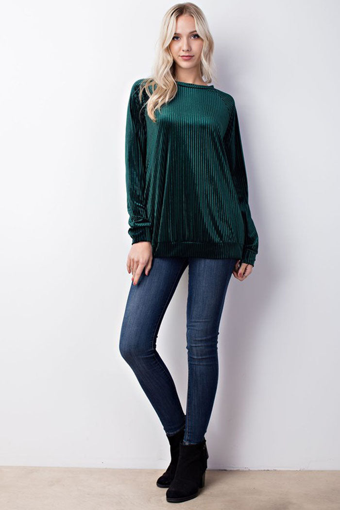 Addison Velvet Rib Pocket Sweatshirt Top : Hunter Green