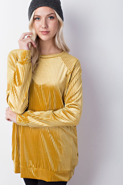 Addison Velvet Rib Pocket Sweatshirt Top : Mustard