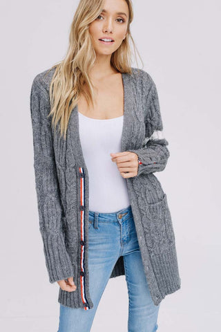 Jessica Color Block Sweater Cardigan : Mauve