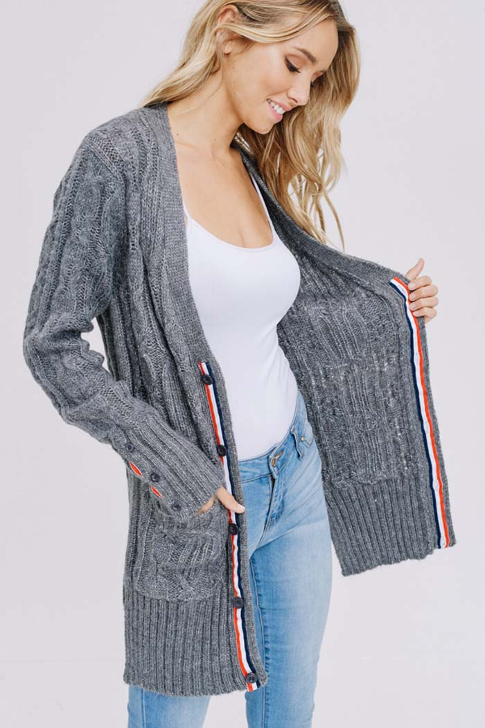 Alexia Button Down Cardigan : Heather Grey/White