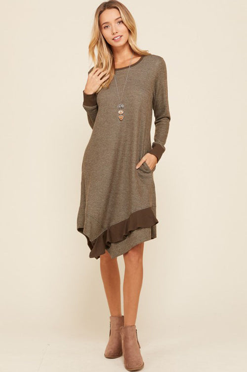 Allison Heather Tone French Terry Dress : Olive