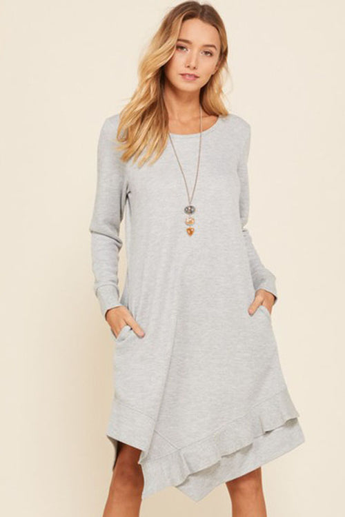 Allison Heather Tone French Terry Dress : Grey