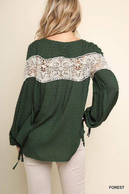 Allison Puff Sleeve Boho Top : Forest