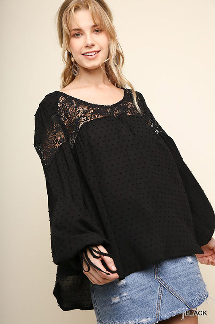 Allison Puff Sleeve Boho Top : Dolphin