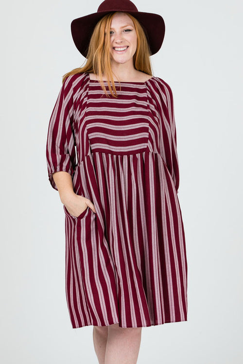 Allison Stripe Print Babydoll Dress Plus : Burgundy