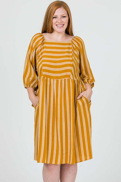 Allison Stripe Print Babydoll Dress Plus : Mustard