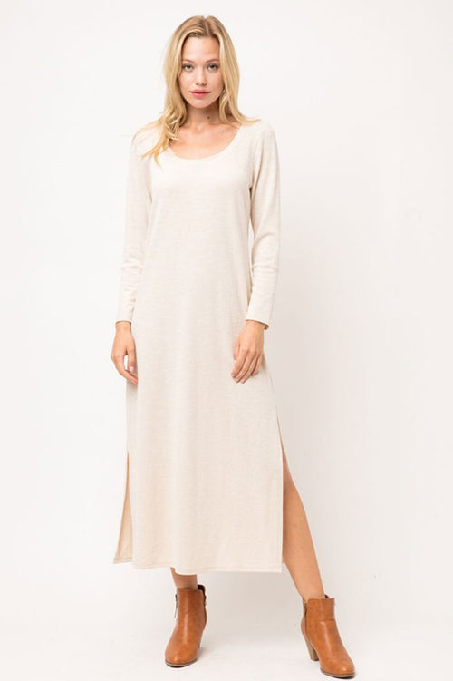 Alyssa Ribbed Side Slit Maxi Dress : Natural