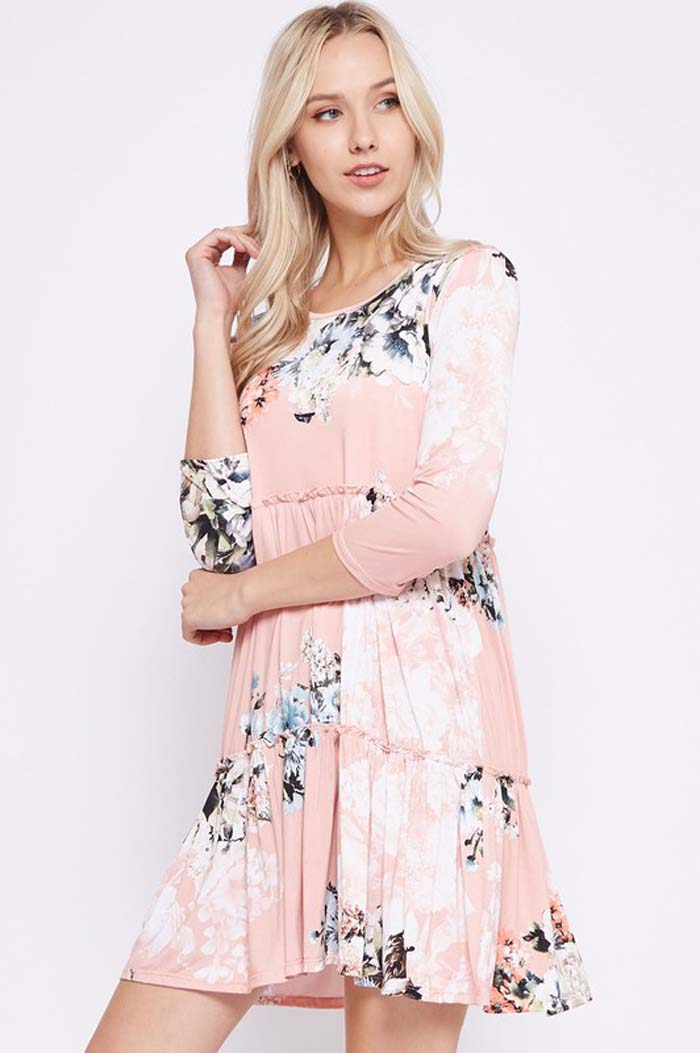 Amanda Floral Swing Dress : Dusty Pink