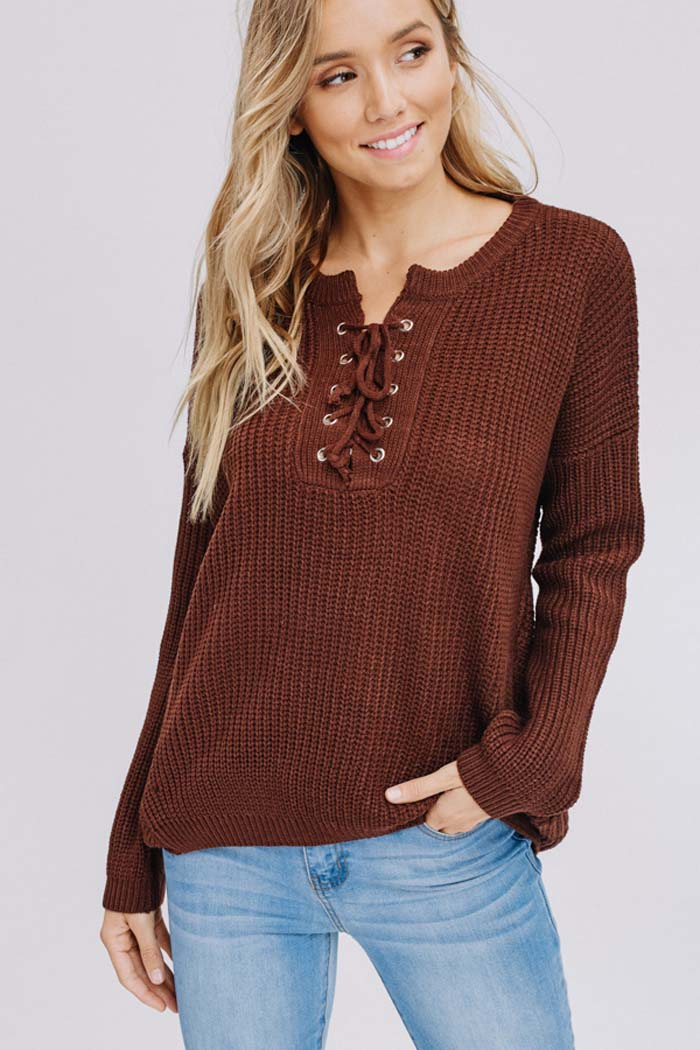 Amber Lace-Up Sweater : Cocoa