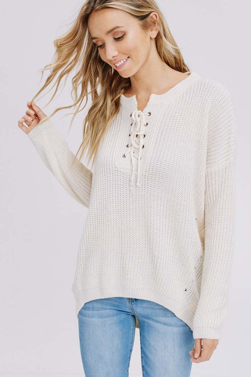 Amber Lace-Up Sweater : Cream