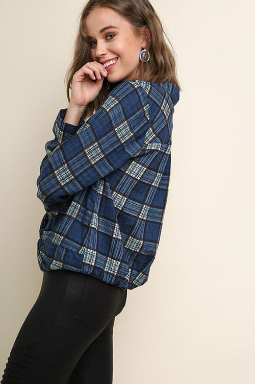 Amy Plaid Print Button Up Collared Top : Navy Mix
