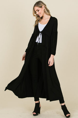 Jennifer Solid Crotchet Cardigan : Black
