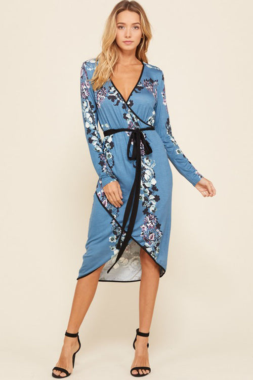 Amy Waist Tie Floral Wrap Dress : Teal