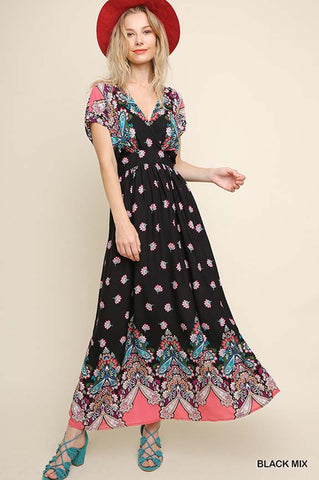Molly Floral Maxi Dress : Olive