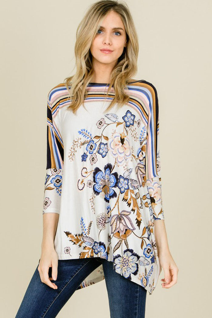 Anne Floral And Stripe Uneven Hem Top : Cream