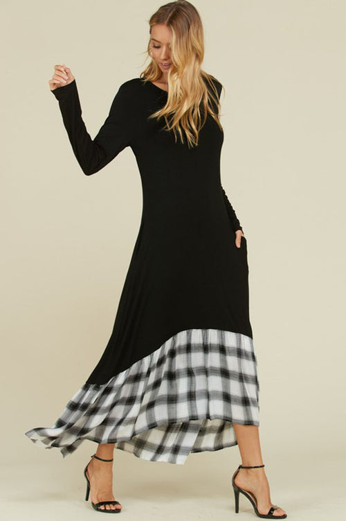 Aria Plaid Hem Maxi Dress : Black