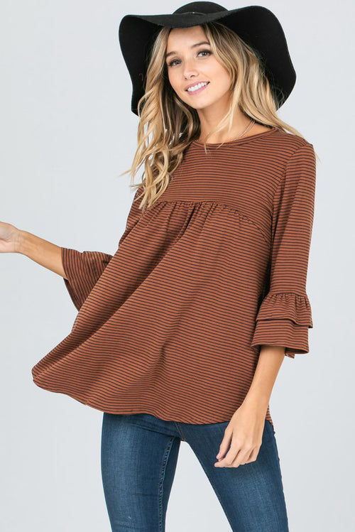 Ashley Ruffled Sleeves Stripe Top : Rust