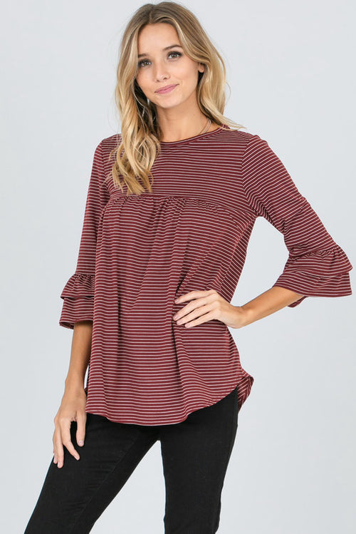 Ashley Ruffled Sleeves Stripe Top : Burgundy