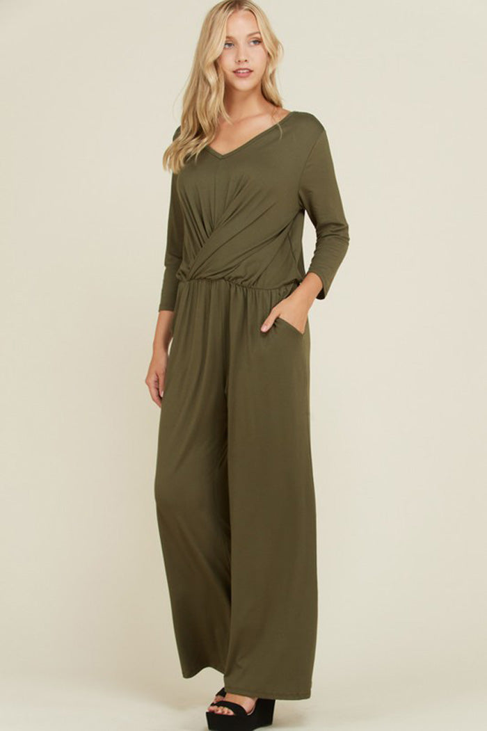 Autumn Front Twist Jumpsuits : Olive