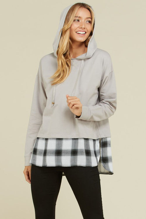 Bella Checker Sweater Hoodie : Taupe