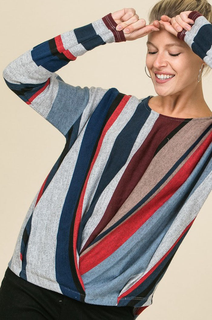 b6fc21b7aa0 Beth Multi-Color Asymmetrical Striped Top : Burgundy – GOZON Boutique