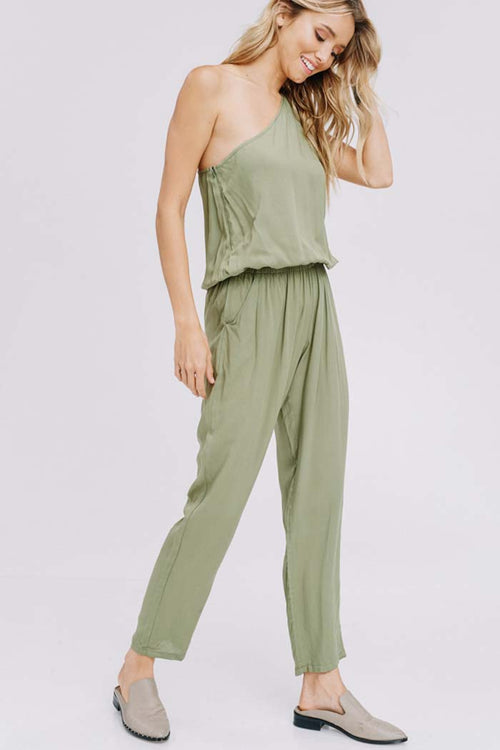 Briana Shoulder Point Jumpsuits : Olive