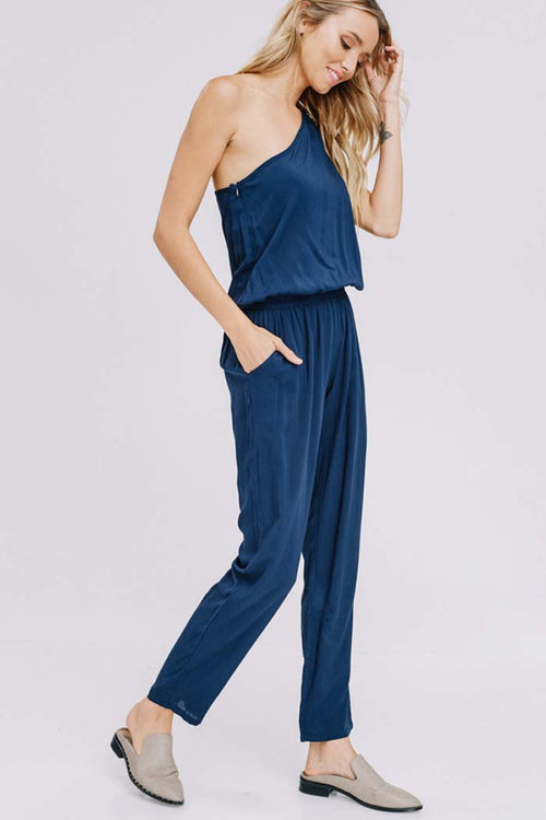 Briana Shoulder Point Jumpsuits : Navy